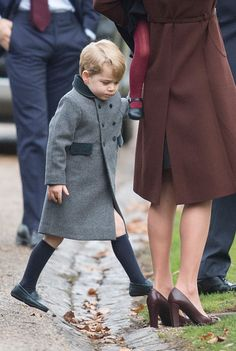Prince George of Cambridge attends Church on Christmas Day on December 25, 2016 in Bucklebury, Berkshire