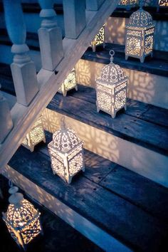 Use small LED candles inside lanterns to light the way to your outdoor living space.Moroccan lanterns lined on the stairs Moroccan Lanterns, Moroccan Decor, Moroccan Style, Moroccan Lighting, Moroccan Wedding, Turkish Decor, Turkish Style, Moroccan Bedroom, Persian Wedding