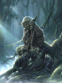 The #Jedi Master in exile on Dagobah. (Front cover of 'Star Wars Art: Illustration'. Released October 1, 2012   Artist: Jerry Vanderstelt) #StarWars #Yoda