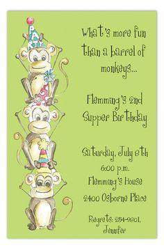 Jungle Gym Party Monkeys Birthday Invitation KidsBirthday Invitations Monkey