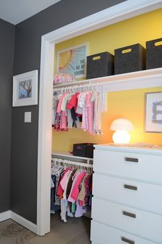 Love the splash of color in the closet + no door and dresser in closet