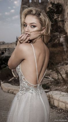 dany mizrachi spring 2018 bridal spaghetti strap sweetheart neckline heavily embellished romantic bohemian a  line wedding dress open strap back chapel train (31) zbv -- Dany Mizrachi Spring 2018 Wedding Dresses