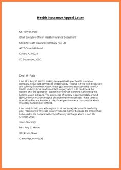 Appeal Letter Insurance Companyee Health Claim Denial ...