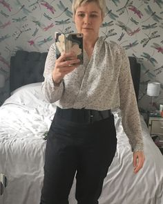 A Sew Over It outfit. Anderson blouse and Ultimate Trousers Sew Over It, Gillian Anderson, Pdf Sewing Patterns, Be Perfect, Tights, Trousers, Glamour, Silk, Shoulder