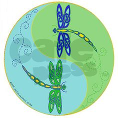 Celtic Dragonfly Yin Yang Ornament (Round)