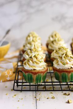 These Pistachio Cupcakes with Orange Mascarpone Frosting are made with a whole cup of ground pistachio nut, no pudding mix allowed!