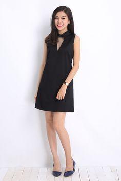Đầm suông cổ chermise phối lưới màu đen-A1092 Giá: 220.000đ