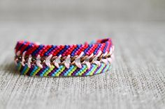 Double chained striped friendship bracelet by dnaranja on Etsy, $10.00