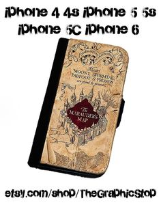 Harry Potter Inspired The Marauders Map iphone 4 4s iphone 5 5s iphone 6 & 6 Plus wallet  Leather gear for iphone cases wallets phone covers by TheGraphicStop on Etsy https://www.etsy.com/listing/223707860/harry-potter-inspired-the-marauders-map