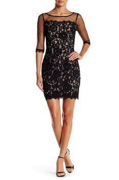 Soieblu Illusion Yoke Lace Dress