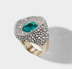 Antonini gold emerald diamond ring.