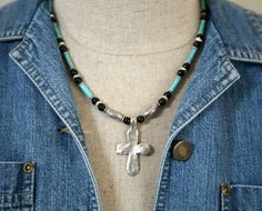 Men's Turquoise and Onyx Cross Necklace Masculine