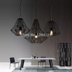 Aile royale lampe de fer rétro bar scandinave moderne style industriel minimaliste diamant lustre restaurant rustique nid