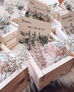 What a unique and creative idea for bridesmaid proposal boxes! These are absolutely beautiful. Bridesmaid Gift Boxes, Bridesmaid Proposal Cards, Bridesmaid Gifts Will You Be My, Cheap Bridesmaid Gifts, Groomsmen Proposal, Wedding Party Invites, Wedding Favors Cheap, Party Invitations, Wedding Gifts