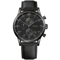 2982ea45a3b Relógio masculino Hugo Boss com pulseira em couro preto e caixa de aço -  1512567 All