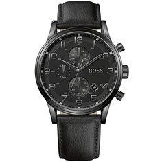 Relógio masculino Hugo Boss com pulseira em couro preto e caixa de aço - 1512567