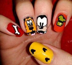 Pluto/Goofy Nails