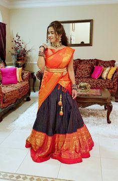 Lehenga Saree Design, Half Saree Lehenga, Saree Gown, Lehnga Dress, Lehenga Designs, Lehanga Saree, Indian Lehenga, Anarkali, Half Saree Designs