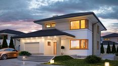 Karat - zdjęcie 2 Home Building Design, Home Design Plans, Building A House, House Layout Plans, House Layouts, Architectural Design House Plans, Modern House Design, Home Modern, Outdoor Fireplace Designs