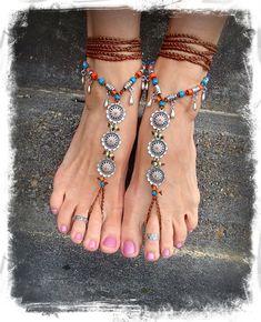 Daisy BAREFOOT Bohemian WEDDING barefoot sandals BROWN von GPyoga