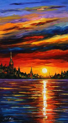 Full of deep scarlet and brown hues, this piece of sea fine art on canvas is a great work by Leonid Afremov. This red sunset painting will show you the power of vibrant colors and generous strokes. Title: Morning Sky Size: 20 x 36 inches cm x 90 cm)[. Red Sunset, Sunset Sea, Large Artwork, Red Artwork, Artwork Paintings, Canvas Artwork, Morning Sky, Wow Art, Fine Art