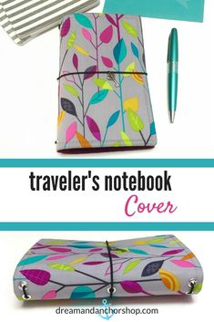 This traveler's notebook makes a great accessory and protects your bullet journal from getting banged up or dirty in your bag. It's lightweight, washable and comes in 7 different sizes - including and Diy Notebook, Notebook Covers, Blog Planner, Happy Planner, Fabric Journals, Travel Scrapbook, Bookbinding, Travelers Notebook, Stationery