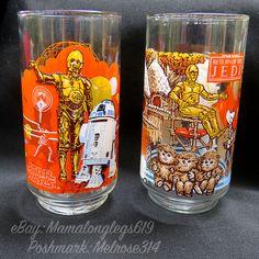 2 Vtg Star Wars Burger King Glasses C3PO R2D2 Ewoks New Hope & Return of Jedi