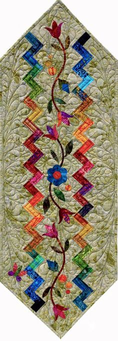 Landscapes Chevron Table Runner Series ~ Wildflower Meadow, Quiltworx.com, Made by Quiltworx.com