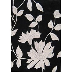 @Overstock - This beautiful floral area rug features a custom dyed yarn construction. The light grey designs on a black background of this rug add drama and luxury to any area. http://www.overstock.com/Home-Garden/Hand-tuft-Metro-Flower-Black-Light-Grey-Wool-Rug-5-x-8/5181491/product.html?CID=214117 $149.99