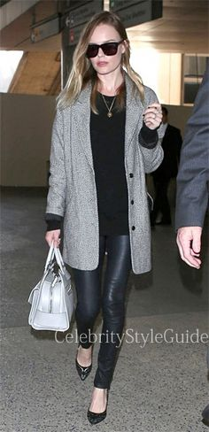 #KateBosworth wore a Topshop Black And White Boyfriend Coat at LAX March 22, 2013  #CelebrityStyleGuide