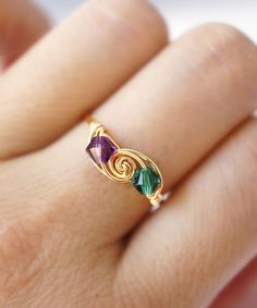 Inspiration: Golden Peacock Wire-Wrapped SWAROVSKI Crystal Ring #shoplately #WireWrapJewelry