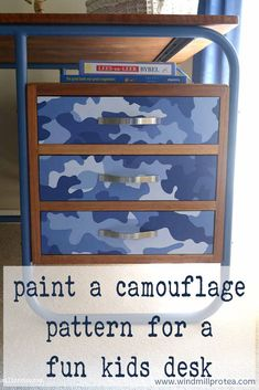 Your son will love to have his own camouflage desk, this pattern will turn a boring desk into a fun addition for a child's room!