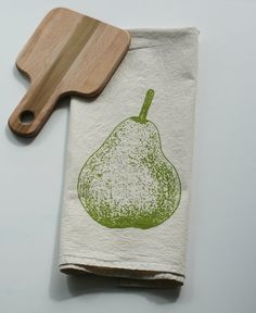 Flour Sack Towel - Pear - Hand Screen Printed - Perfect Father's Day Gift on Etsy, $12.00