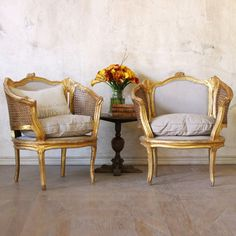 One of a Kind Vintage Banquette Louis XV Warm Gold Set of 2