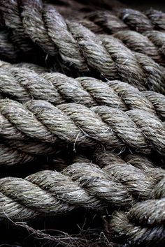boat ropes (make rope: twist raw material into thread, reverse/overtwist to double up, again, again...=Stronger)