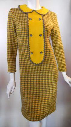 Mod Yellow and Gray Houndstooth Bibbed Dress circa 1960s - Dorothea's Closet Vintage