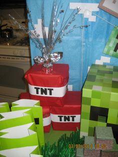 Matthew's Minecraft Themed Birthday Party...TNT party decorations...Ssssss Boom!