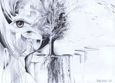 Looking in the direction of time...Ball pen (lightfast ink) on paper. Author: Witold Kubicha