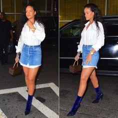 Rihanna Balenciaga velvet sock boots, Vetements striped shirt and denim mini skirt, Louis Vuitton x Frank Gehry twisted box handbag