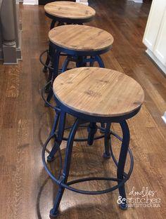 ideas kitchen island bar stools fixer upper for 2019 Diy Bar Stools, Rustic Bar Stools, Diy Stool, Bar Chairs, Farm House Bar Stools, Lounge Chairs, Farmhouse Stools, Industrial Bar Stools, Metal Bar Stools
