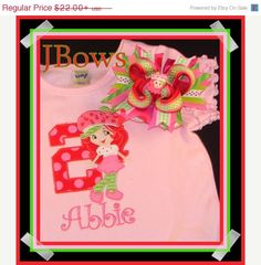 ON SALE Strawberry Shortcake Birthday by kitkatbowsandclothes, $18.70
