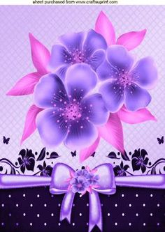 Pretty lilac and pink flowers with bow A4 on Craftsuprint designed by Nick Bowley - Pretty lilac and pink flowers, with bow A4, makes a pretty card, Also can be seen in A5 - Now available for download!