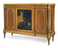 François-Joseph-Hubert Heubès French, 1826 - c.1895 A Louis XVI style gilt bronze-mounted mahogany and black and gold lacquer commode à vantaux Paris, last quarter 19th century, after the model by Adam Weisweiler surmounted by a brocatelle jaune d'Espagne marble top, the central door opening to one shelf, the carcass stamped HEUBES and bearing a pseudo JACOB JME stamp height 44 3/4 in.; width 62 1/2 in.; depth 19 3/4 in. 114 cm; 159 cm; 48.5 cm