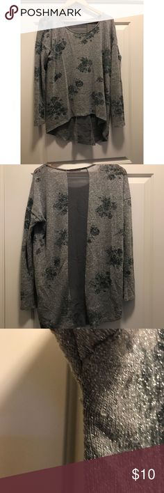 Floral sequin blouse Pretty silver shine with floral and a see through cut on the back Lush Tops Blouses