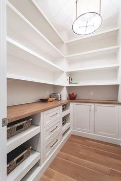 Calgary Mount Royal Showhome — Veranda Estate Homes | Custom Home Builder Calgary Kitchen Pantry Design, Interior Design Kitchen, Kitchen With Pantry, Kitchen Pantry Storage, Pantry Cabinets, Pantry Laundry Room, Pantry Closet, Pantry Shelving, Open Shelving