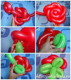 Как сделать розу из длинных шариков ч.3