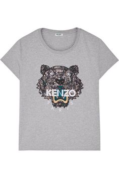 KENZO Icon Embroidered Cotton-Jersey T-Shirt. #kenzo #cloth #tops