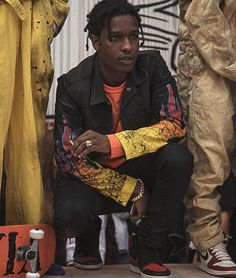 ASAP Rocky Wearing Off-White x Vlone T-Shirt, Himumimdead Jacket And Air Jordan Sneakers