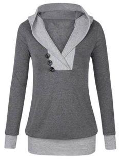 Spring Winter Womens Blouse Sexy V-Neck Long Sleeve Hoodie Sweatshirt Jumper Hooded Pullover Tops Blusas Plus Size Grey Hoodie, Sweater Hoodie, Blouses For Women, Hooded Sweatshirts, Online Shopping, Long Sleeve, Girls, Sleeves, Clothes