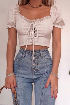 Order the Fashion Influx Cream Lace Up Puff Sleeve Top from In The Style. Cute Casual Outfits, Girly Outfits, Mode Outfits, Pretty Outfits, Stylish Outfits, Short Outfits, Beautiful Outfits, Aesthetic Fashion, Aesthetic Clothes